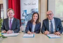 Ondertekening overeenkomst EIB en Isala met v.l.n.r. Hans Naudts (Europese Commissie), Gemma Feliciani (EIB) en Roel Venema (Isala)